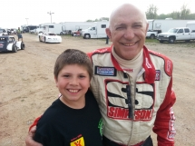 Nelson Stewart ( Tonys dad ) with a fan Austin Peterson taken at Beaver Dam , Wi.